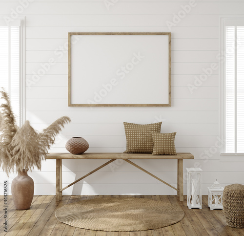 Frame mockup in farmhouse living room interior, 3d render Canvas