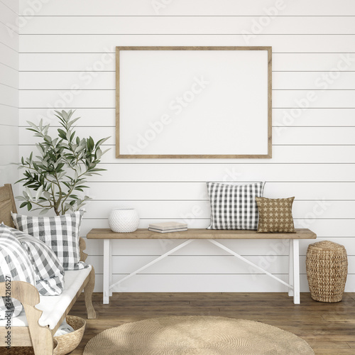 Fotografia Frame mockup in farmhouse living room interior, 3d render