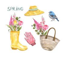 Watercolor Gardening Elements ...