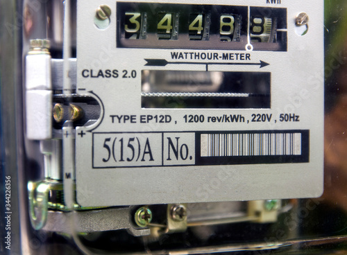 Photo watthour meter amp of electricity of use at home