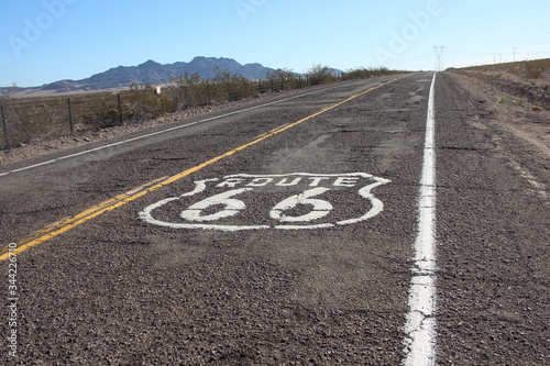 High Angle View Of Route 66 Marking On Road Wallpaper Mural