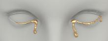 Golden Tears. 3d Rendering. Art Concept.
