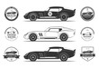 Set of classic sports car silhouettes and vintage car service labels, emblems, logos, badges. Vector illustration