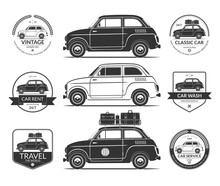Set Of Small Classic Car Silho...