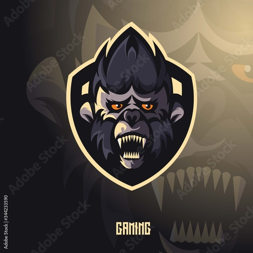 Photo Ape mascot logo design with modern illustration concept style for badge, emblem and t shirt printing