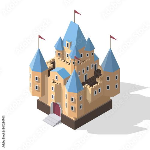 Vector isometric fantasy medieval castle Canvas Print