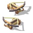 Vector isometric low poly ballista. Siege engine game concept design.
