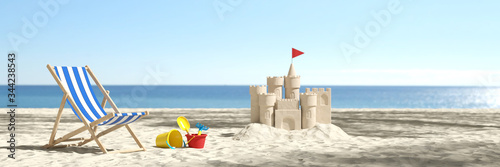 Obraz Sandburg am Strand im Urlaub in den Sommer Ferien - fototapety do salonu