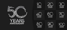 Anniversary Logotype Set With Silver Color. Vector Design For Celebration Purpose, Greeting, Invitation CardPremium Edition.
