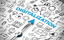 Digitalization Konzept Mit Kompass Und Schriftzug