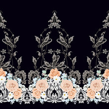 Seamless Vintage Border With P...