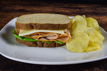 Turkey Sandwich With Potato Ch...