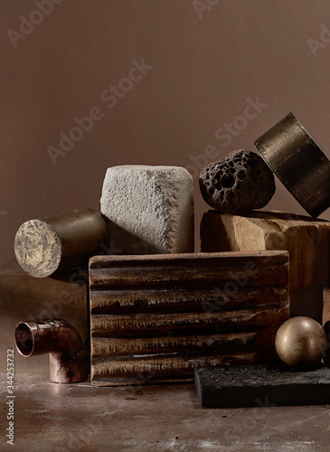 Still life with pieces of wood and metal pipes - 344253732