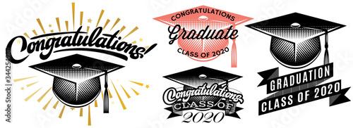 Fotomural Set of Graduation vector Class of 2020