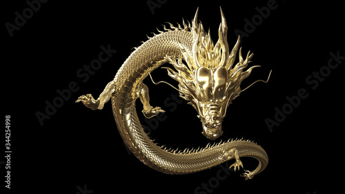 Fotografie, Obraz Full body gold dragon in smart pose with 3d rendering include alpha path