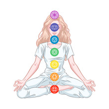 Seven Chakra System In Human Body, Infographic With Meditating Yogi Woman, Vector Illustration