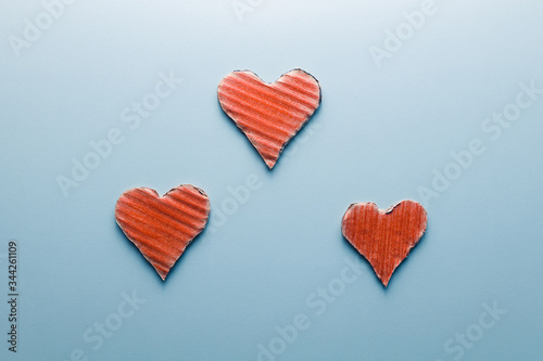 Stampa su Tela Coppia mista, concetto con simboli del cuore.
