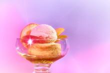 Peach Ice Cream Sundae In Glass Bowl