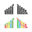 Set of vector icon charts of growth and decline of business, Finance, Stock illustration isolated on a white background.