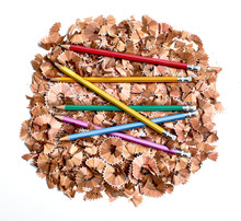 Colorful Pencils On Pile Of Pe...