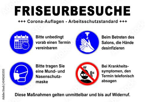 ds157 DiskretionSchild - german text - Friseurbesuche: Corona - Arbeitsschutzstandard - Termin vereinbaren - Maske - Hände desinfizieren - hairdresser Canvas Print