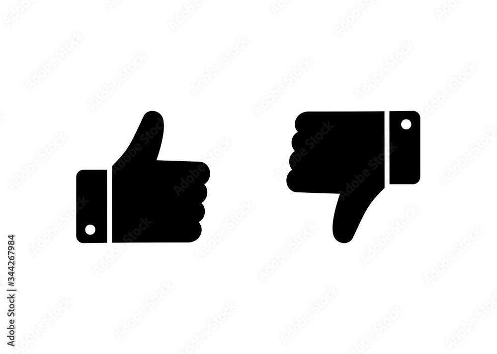 Fototapeta like and dislike icon, Thumbs up thumbs down icon vector
