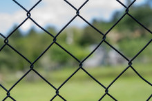 Iron Chain Link Fence Against ...