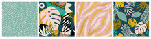 Collage Tropical And Polka Dot Seamless Pattern Set. Modern Exotic Design For Paper, Fabric, Interior Decor
