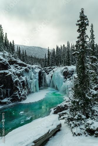 Rjukandefossen waterfall in the mountains, winter,  Norway, Hemsedal.