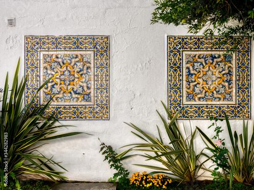 Azulejo tiles. Faro, Algarve, Portugal. Fototapeta