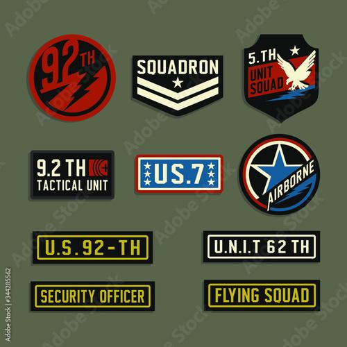 Fototapeta set of vintage labels military illustration, tee shirt graphics, squadron typogr