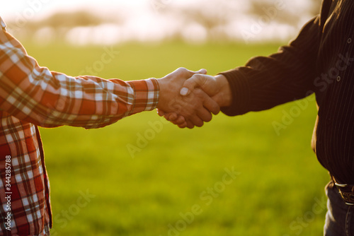 Tablou Canvas Handshake two farmer on the background of a wheat field at sunset