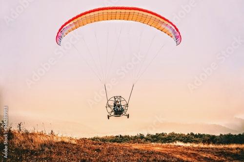 Photo aero paratroik landscape in Ukraine