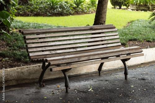 Obraz na plátně Empty Wooden Bench In Park