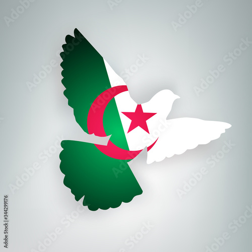 State flag of Algeria (People's Democratic Republic of Algeria)  in the shape of a bird Canvas Print