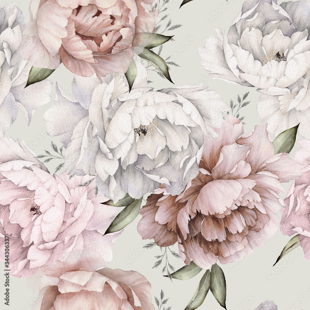 Fototapeta Seamless floral pattern with peonies on light background, watercolor. Template design for textiles, interior, clothes, wallpaper. Botanical art