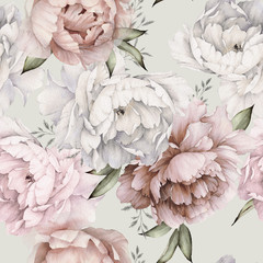 Fototapeta Do sypialni Seamless floral pattern with peonies on light background, watercolor. Template design for textiles, interior, clothes, wallpaper. Botanical art