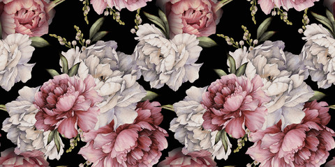 Fototapeta Malarstwo Seamless floral pattern with peonies on dark background, watercolor. Template design for textiles, interior, clothes, wallpaper. Botanical art