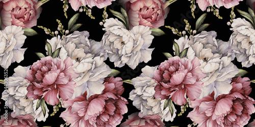 Obraz Kwiatowy wzór z piwoniami - fototapety do salonu