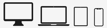Laptop Computer Tablet Phone. Device Icons Set. Vector