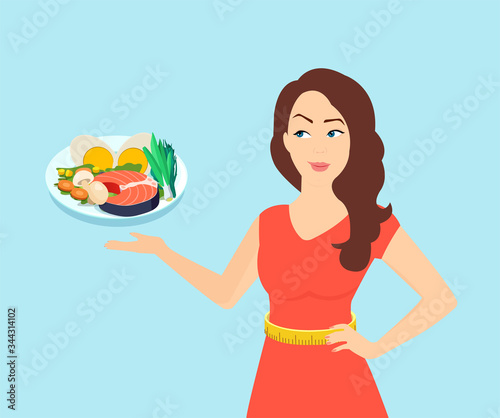 Fotografia Vector of a slim beautiful woman offering a healthy dish choice