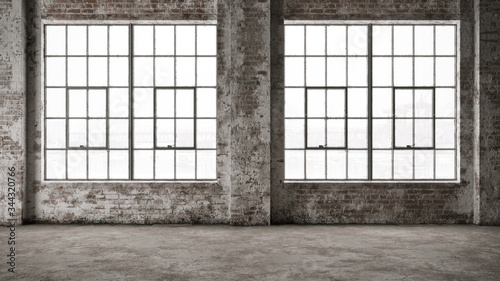Empty, large interior with old brick walls and big windows Canvas Print