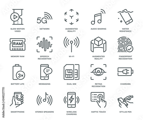 Obraz Smartphone Specification Icons. - fototapety do salonu