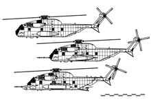 Sikorsky CH-53 Sea Stallion. Vector Drawing Of Heavy-lift Cargo Helicopter. Side View. Image For Illustration And Infographics.