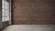 Leinwandbild Motiv Empty, loft industrial grunge interior. Old brick walls and big windows.  Interior concept background . 3d Render
