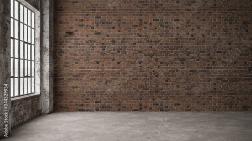 Empty, loft industrial grunge interior. Old brick walls and big windows.  Interior concept background . 3d Render