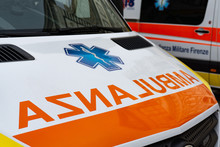 Ambulanza Sign On A Italian Ambulance Car Medical Service In  Tuscany, Italy, Europe