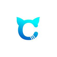 Vector Letter C Cat Concept Logo