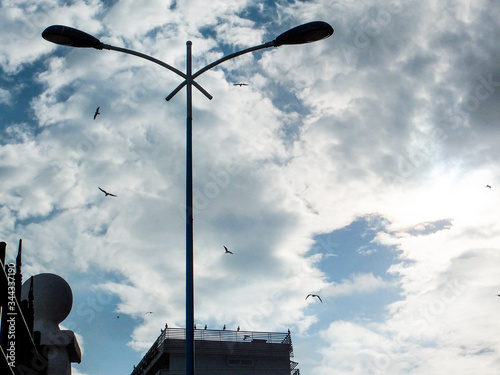 Photo streetlight backlight sky town beautiful