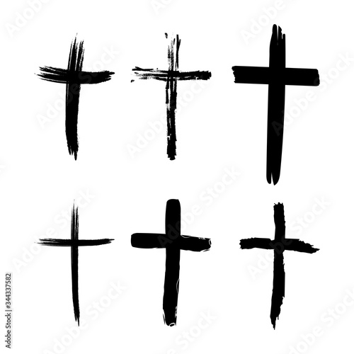 Cuadros en Lienzo Set of hand-drawn black grunge cross icons, collection of simple Christian cross signs, hand-painted cross symbols